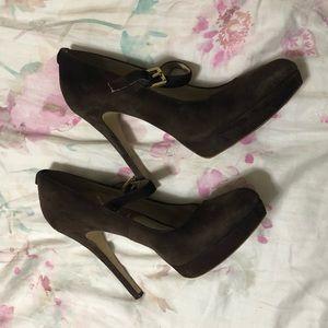 Michael Kors brown suede strap platform heels